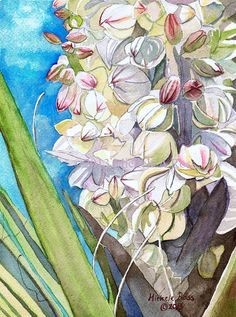 Watercolor Painting Yucca Blossom by Mikalaartist on Etsy, $245.00