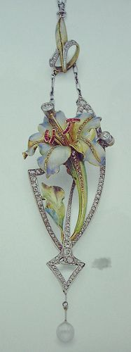 Lily pendant in enamel, diamonds, rubies, and pear