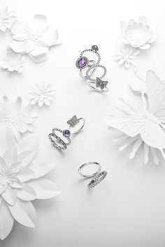 We love the combination of sterling silver and cool purple hues. Add delicate butterflies for a more romantic look. #PANDORA #PANDORAring