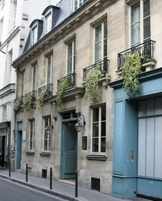 Greige Design - home exteriors - limestone, home, blue, doors, turquoise doors, turquoise blue doors,  Gorgeous limestone home exterior. if you have to live in the city. then girlfriend live in the city.