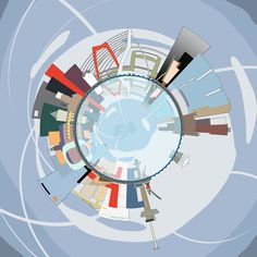 Spherical panorama Skyline Rotterdam - 60x60 cm, from € 185 - at http://fransblok.werkaandemuur.nl/index/132/nl/Bolpanorama-Skyline-Rotterdam/view/125687