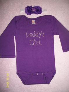 612 month Daddys girl rhinestone onesie set by rhinestonecuteness, $18.00