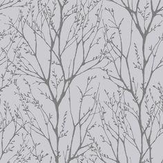 I Love Wallpaper™ Shimmer Tree Soft Grey / Silver (ILW980033) - I Love Wallpaper™ from I love wallpaper UK