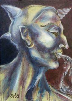 "Saatchi Art Artist Clara de Bobes; Painting, ""Baal"" #art Saatchi Art, Oil On Canvas, Original Paintings, Artist, Paintings, Artists"