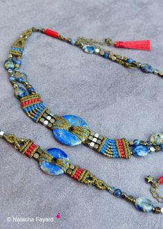 Boho chic micro macrame set / french designer jewelry / Made in France. © Natacha Fayard