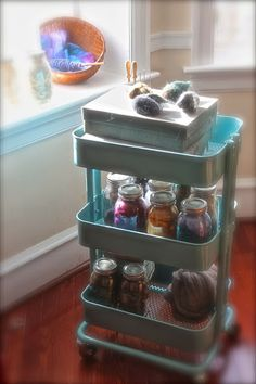 Redbeet Mama: Corner of My Home : My New Cart pretty way to store wool roving