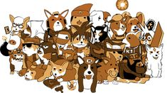 Corgis cosplaying as your favorite videogame heroes. Too cute.
