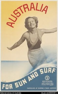 Australian Vintage Surf Poster.. my dad when he was in colledge surfed all th time in australia(: