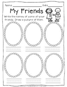 My prekinders would like the friends activity in the writing center. (From…