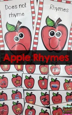 Looking for a fun FALL rhyming game? This is it! Your little learners will LOVE playing this apple themed game as a whole class game, learning center, or morning tub activity! Kindergarten Language Arts, Kindergarten Centers, Kindergarten Reading, Kindergarten Classroom, Syllables Kindergarten, Classroom Hacks, Fall Preschool, Preschool Literacy, Apple Activities Kindergarten