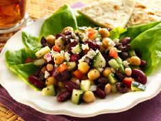 Four Bean Salad (Greek Style)- Excellent Source of Fiber.  Good Source of Vitamin C, Calcium, and Iron.  11g Protein per serving.  No Cholesterol.