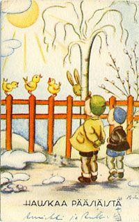SKS vuotuisjuhlat: pääsiäinen Old Cards, Chocolate Bunny, Vintage Illustrations, Finland, Easter, Joy, Spring, Pretty, Painting