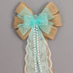 Aqua sheer burlap wedding pew bow with lace and pearls. Burlap pew bows are a perfect decoration for a rustic wedding theme. Shop for burlap wedding bows Wedding Pews, Aqua Wedding, Wedding Chairs, Trendy Wedding, Rustic Wedding, Wedding Church, Wedding Dresses, Wedding Picnic, Church Weddings