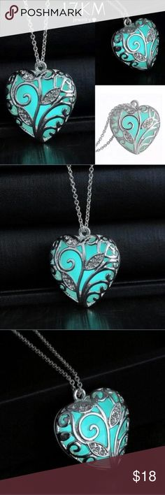 Glow In The Dark Heart Necklace This is an amazing necklace piece! The way it glows is incredible! The light will last for almost an hour! The necklace color itself is a see through color. See last pic for details. When you put it in the dark, it will glow a bright blue color. TrendyRose Jewelry Necklaces