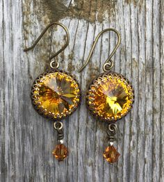 Brilliant yellow with antiqued brass earrings by BellaMiJewelry $25