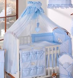 Canopies and Netting Luxury Baby Canopy Drape Width + Holder Fit Cot Cot Bed - Blue -> Cot Canopy, Baby Canopy, Baby Crib Bedding, Blue Bedding, Baby Bedroom, Baby Boy Rooms, Baby Cribs, Canopies, Small Baby Bed