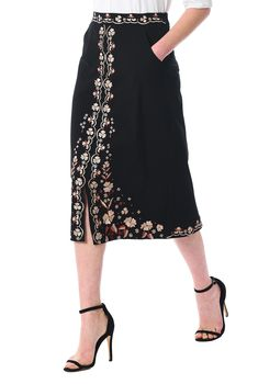 Embroidered florals lend delicate charm to our lightly flared cotton knit skirt, detailed with a flattering front vent for an elongating style. Lolita Fashion, Modest Fashion, Fashion Dresses, Punk Fashion, Apostolic Fashion, Modest Clothing, Knit Skirt, Dress Skirt, Cute Skirts
