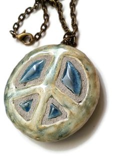 Peace Sign Symbol Necklace - Hippie Jewelry - Ceramic Clay Pendant - INTERCHANGEABLE