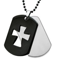 West Coast Jewelry Stainless Steel Black Plated Laser Cutout Cross on a 24 Inch Chain : Stainless Steel Ball Chain, Dog Tags, Jewelry Stores, Dog Tag Necklace, Plating, Wedding Rings, Stainless Steel, Engagement Rings, Diamond