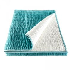 Ragged Rose Opal Hand Stiched Quilted Velvet Bedspread in Duck Egg and Ivory A