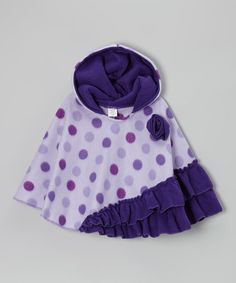 With a fun print, rosette embellishment and asymmetrical ruffle hem, this pullover poncho is a total style star. Plush fleece and a warm hood add function to fashion. Toddler Poncho, Kids Poncho, Infant Toddler, Toddler Girls, Baby Poncho, Infant Girls, Baby Girls, Fleece Projects, Baby Sewing Projects
