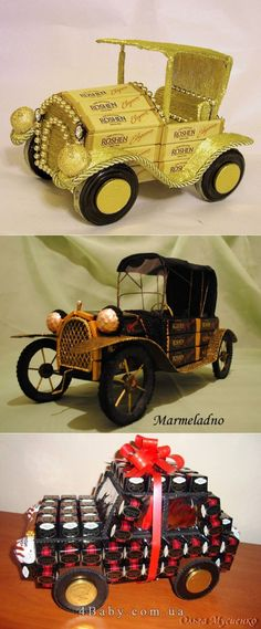 cars of sweets - a gift to the man on February 23 Chocolate Pack, Chocolate Gifts, Creative Cakes, Creative Gifts, Food Gifts, Diy Gifts, Chocolate Flowers Bouquet, Edible Bouquets, Gift Wrapper
