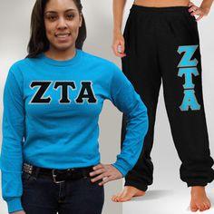 Zeta Tau Alpha Longsleeve and Sweatpants #Greek #Sorority #Clothing #ZTA #Zeta #ZetaTauAlpha