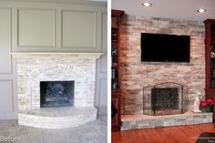With some carpentry work this plain little fireplace was transformed into a beautiful focal point with bookcases, cabinets and a TV. The style of the stone is Mountain Stack