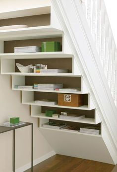 19 trendy under stairs storage cheap Understairs Storage cheap stairs storage Tr… - Popular Stair Shelves, Diy Storage Shelves, Staircase Storage, Under Stair Storage, Shelves Under Stairs, Cheap Storage, Office Storage, Hidden Storage, Understairs Storage Ideas