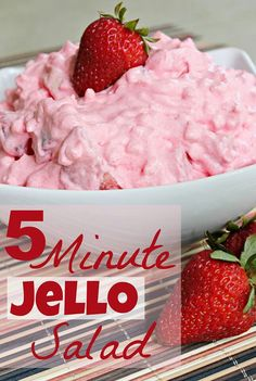 STACI SAYS YES YES YES !  5 Minute Jello Salad 8 oz cottage cheese, 8 oz Cool Whip, 8 oz. strawberries, cut up, banana, strawberry jello. Whisk Cool Whip & jello til dissolved; fold in rest of ingredients.  YUM!