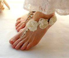 Barefoot Sandals Bridal Barefoot Sandals Beach Wedding Shoes Garden Wedding Barefoot Jewelry hemp Toe Thong Ivory White. $65.00, via Etsy.