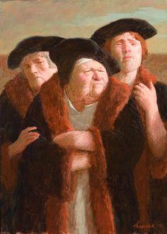 Kenne Gregoire Hoog bezoek Acryl op paneel 25x35 cm - 2010