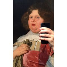 Someone went to a museum and made the paintings look like they were taking selfies