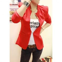$9.72 Bright Style Long Sleeves Stand-Up Shoulder Design Blazers For Women