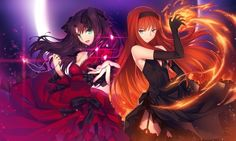 Anime picture 1333x800 with  fate (series) fate/stay night shingetsutan tsukihime type-moon toosaka rin toono akiha yangsion long hair looking at viewer blue eyes wide image brown hair multiple girls red hair outstretched hand girl thighhighs dress gloves black thighhighs