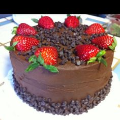 Chocolate Cake with Strawberries on top! Yum ^-^ Lulu :)