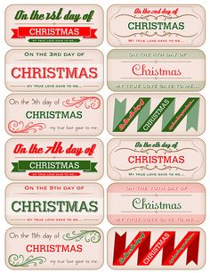 12 Days of Christmas tag downloads by Melinda Ward Paper Crafts magazine