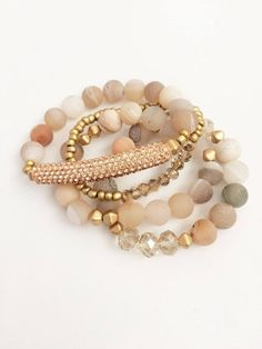Your place to buy and sell all things handmade - Jewelry/Jewelry Making - Your place to buy and sell all things handmade Natural Stone Bracelet Set Bohemian Jewelry, Beaded Jewelry, Jewelry Bracelets, Jewellery Box, Silver Jewelry, Jewellery Shops, Gold Necklaces, Leather Jewelry, Tanishq Jewellery