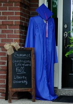 Decorate with cap and gown