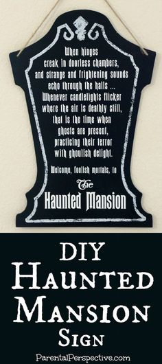 DIY Haunted Mansion Sign | ParentalPerspective.com