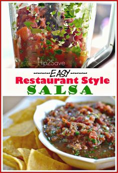 Easy Restaurant Style Salsa. Refeshing, and zesty. Try this recipe from Hip2Save.com for your next party.