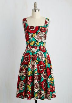 Set Things Illustrate Dress - Multi, Green, Floral, Print, Casual, Sundress, A-line, Sleeveless, Spring, Knit, Long