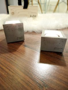 Loving these concrete candle holders, TUIkubes! Finnish design item.