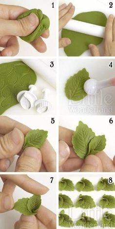 how to make polymer clay leaves with press cutters Designing fondant cake without the fondant tools – Artofit How to make a mint leaves with a modeling paste - Finds of on Etsy The diagram does not make the hearts in the photo. How to make fondant laven Cake Decorating With Fondant, Cake Decorating Techniques, Cake Decorating Tutorials, Fondant Cake Decorations, Diy Cake, Fondant Flower Tutorial, Fondant Flowers, Fondant Rose, Sugar Flowers