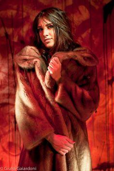 lining Fur coat fetish satin