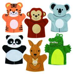 Wild Animals hand puppets - Set 2 Felt Puppets, Glove Puppets, Puppets For Kids, Felt Finger Puppets, Paper Animals, Felt Animals, Puppet Crafts, Felt Crafts, Raccoon Hands