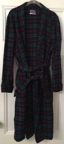07041204522 Pendleton MacTAGGART Plaid Tartan Mens Robe Size Large 100% Virgin Wool  Made USA