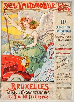 The poster for the 1903 Brussels, Belgium Motor Show featured a playful angel giving her wings a rest and trying out four wheels. (Ville de Bruxelles)