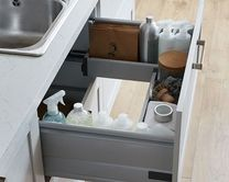 Storage drawer with soft-closing runners that utilises the space beneath your sink.
