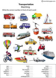 Kids Pages - Transportation Matching